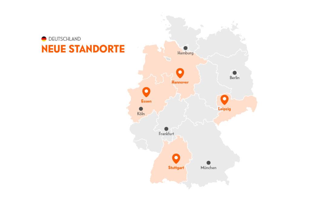 Karte von Deutschland mit den neuen Standorten von Indie Campers 2021